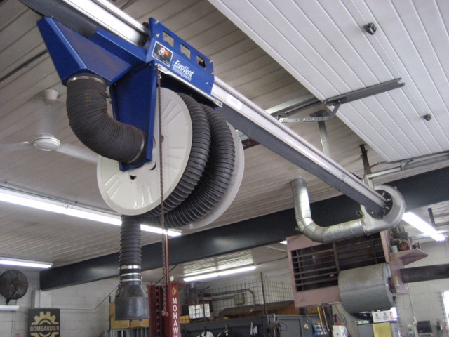 Eurovac vehicle exhaust removal system - above ground rail system - installed by Total Tool