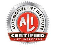 Total Tool is a certified lift inspector from the Automotive Lift Institute (ALI),