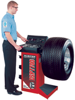 The Hunter DSP7700 wheel balancer is rugged and compact