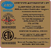 Automotive Lift Institute (ALI) Certified Lift Inspection sticker