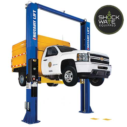 Image of Rotary Lift Model SPO16 lifting a chevy truck